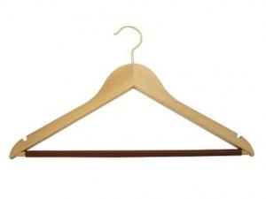 Rounded men`s hanger with plastic tube