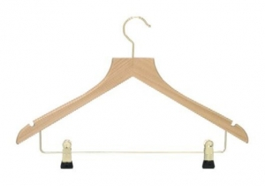 Deluxe hanger with brass metal clips